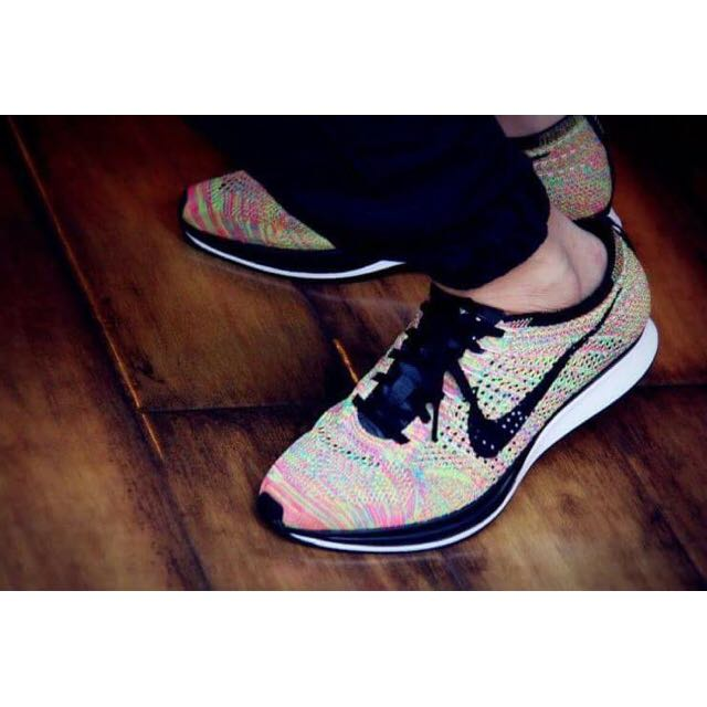 Nike Flyknit Racer 彩虹 螢光 粉紅 線編織 輕量 慢跑鞋