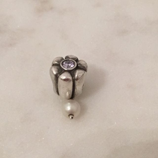Pandora Silver Hanging Pearl And Purple CZ Flower Charm