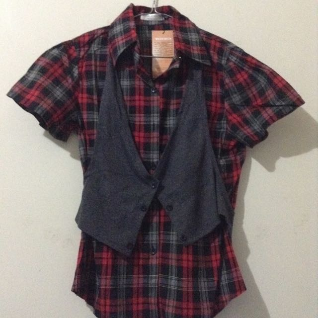 Shirt + vest (Size 10-12) New. Clean.