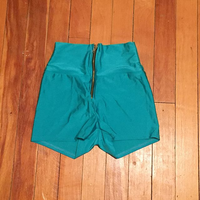 Size S/M Neon Turquoise Spandex Rave Shorts
