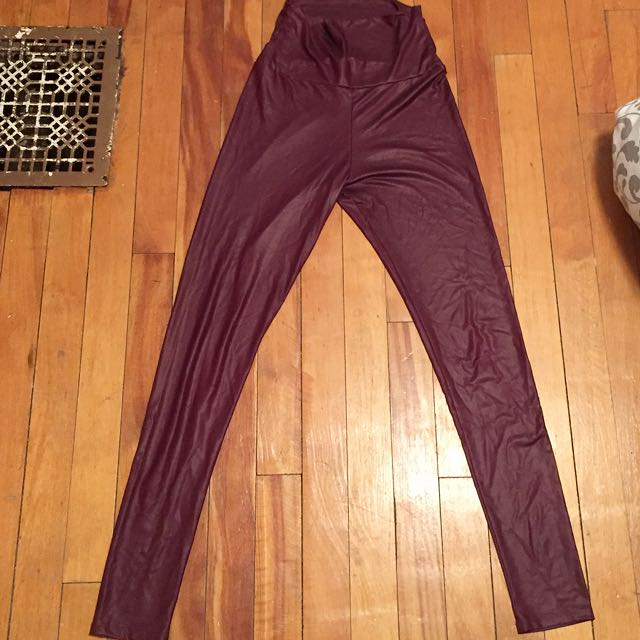 Size Small Burgundy Pleather Leggings