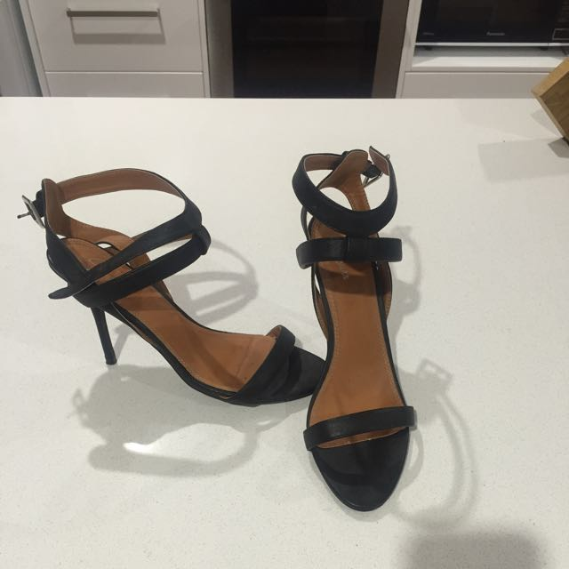 Spurr Black Strapped Heels