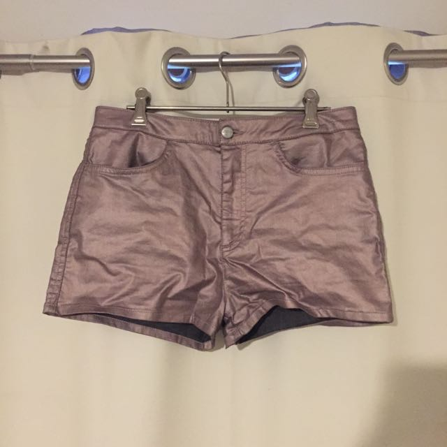 TOPSHOP Metallic Denim Shorts