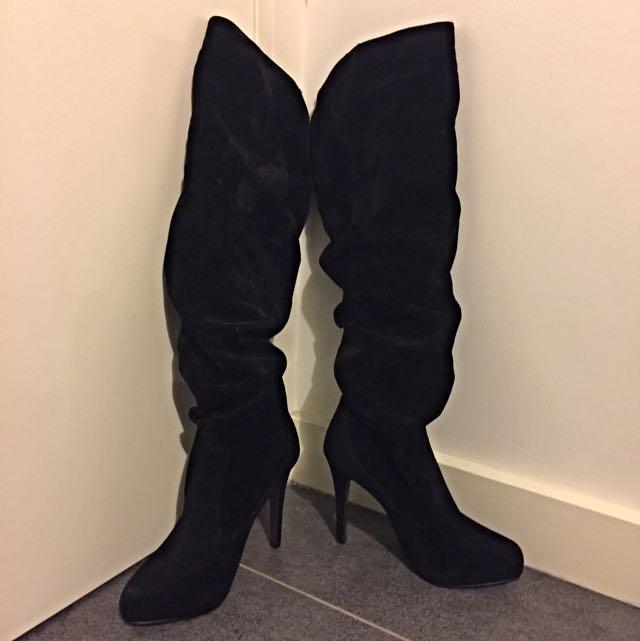 Velvet Black Boots