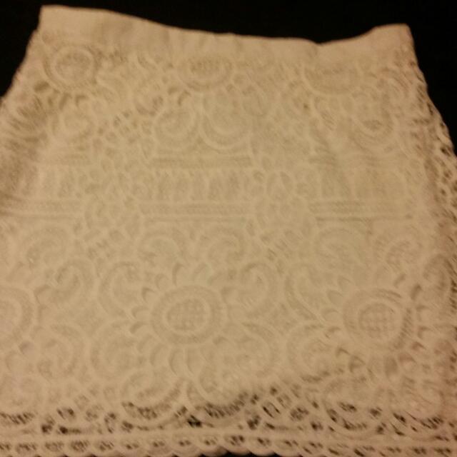 White Lace Skirt(plus Size)