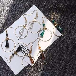極簡圓圈x水滴玻璃珠耳環