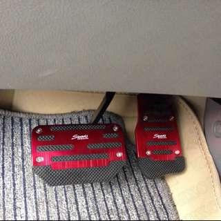Brand New 2 Pcs Black Fuchsia Metal Plastic Nonslip Pedal Cover Set for Car