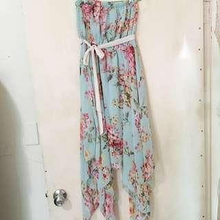 女神款 氣質雪紡湖水綠平口連身花洋裝 design In Korea