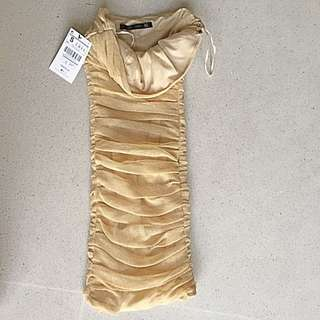 Beautiful Metallised Gold Mesh (nylon) Zara Dress