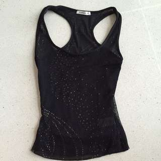 Topshop Black Glitter Mesh Racer back Top