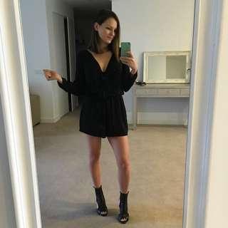 Zara Black Silk Jumpsuit Size 8