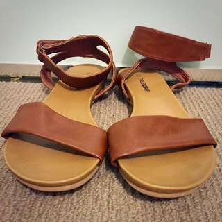 Brown Ankle Wrap Sandals