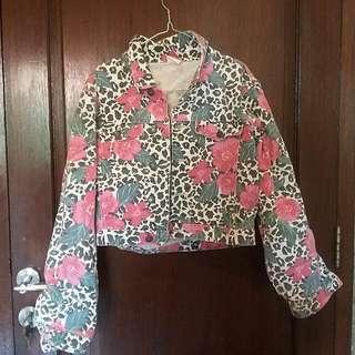Floral Cropped Denim Jacket