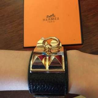Black leather bangle designer