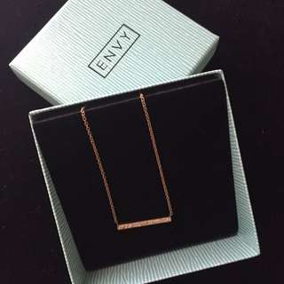 Envy - Rose Gold Bedazzle Love Bar Necklace