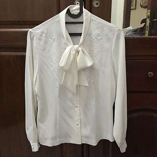 Long Sleeve Silk Blouse With Embroidery & Pearl
