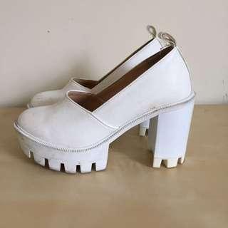Chunky White Heels