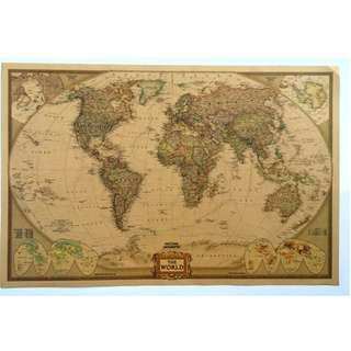 Vintage World Map by National Geography