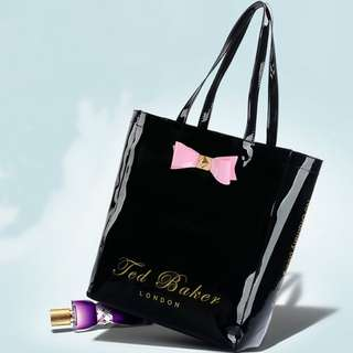 BRAND NEW TED BAKER GLOSSY BLACK PINK BOW PATENT LOOK TOTE