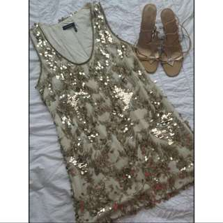 #1212sale BRAND NEW Ginger & Smart Gold and Ivory Bead Sequin Dress RRP$1200. ~DONT MISS OUT!!~