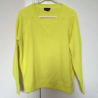 Topshop Fluorescent Yellow Knit Top