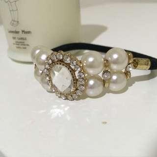 韓國氣質水晶珍珠頭髮綁繩