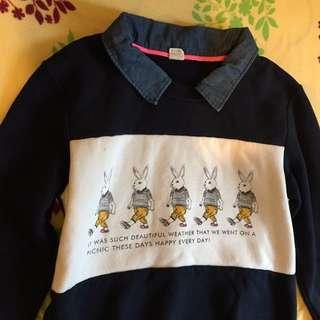 🔹 深藍兔子鋪棉上衣