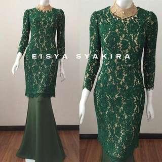 eisya syakira emerald kurung modern size L