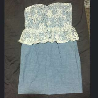 Strapless Blue And White Lace Dress