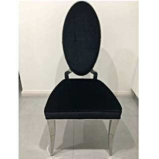 Elegant Black Velvet & Chrome Dining Chairs (4)