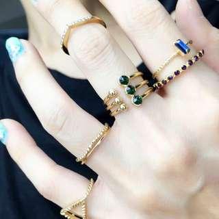 復古 民族 寶石 水鑽 戒指 組 六入 $150