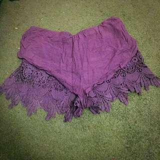 Purple Lacy Shorts