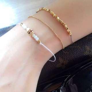 歐美 金屬 串珠 綁帶 手鍊 手環 3入 組 $130