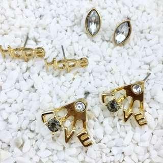 歐美 金屬 字母 水鑽 Hope Love 耳環 3入 $130