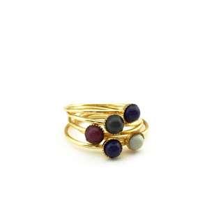 寶石 復古 戒指 五入 組 $130