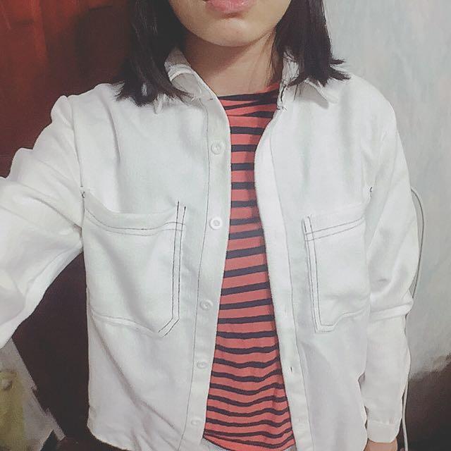 毛毛白色襯衫