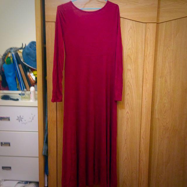 文青感👉🏻紅色連身長裙