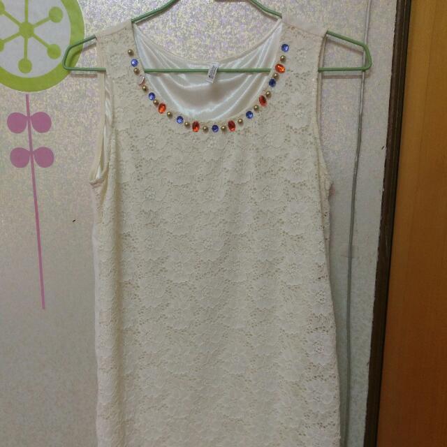 長版珠飾背心裙