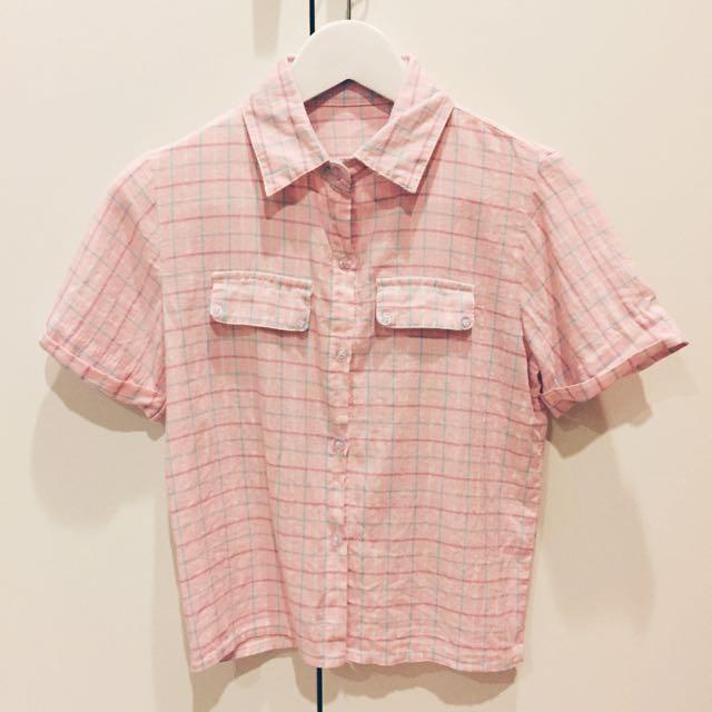 藍綠粉色格子線條襯衫