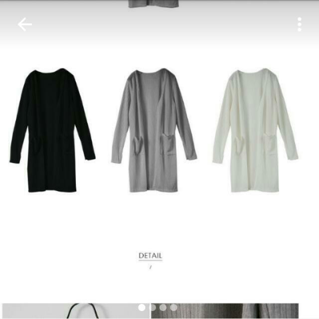 針織長版外套(白色