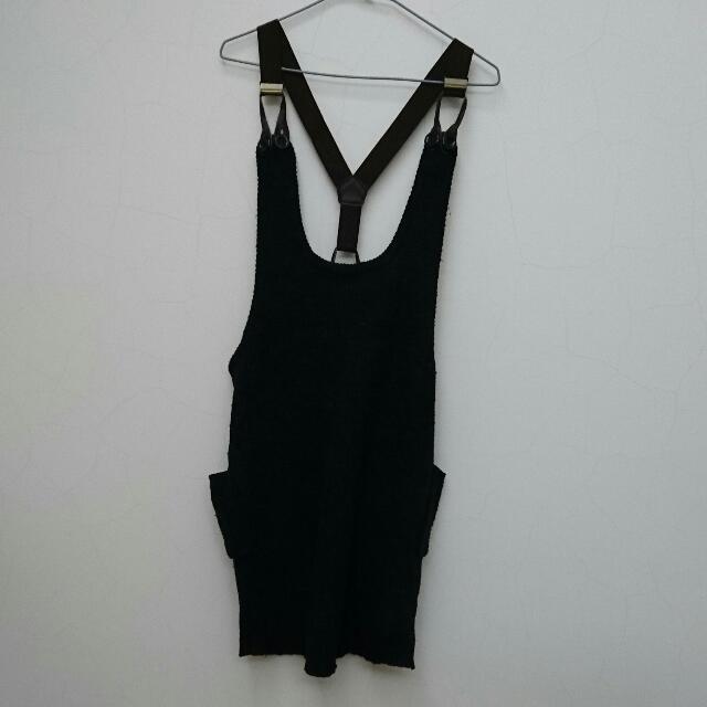 連身裙 吊帶 針織 毛料 黑