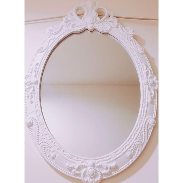 浪漫滿屋 愛心雕花鏡 化妝鏡 壁掛鏡子 鏡子 白色掛鏡