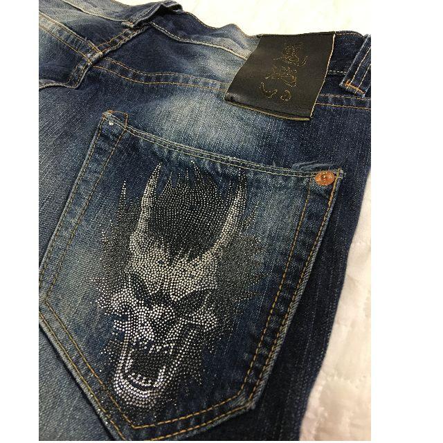 專櫃真品 鬼洗ONIARAI 釘鑽鬼頭藍刷色牛仔褲32腰~經典皮革標‧原價4480元