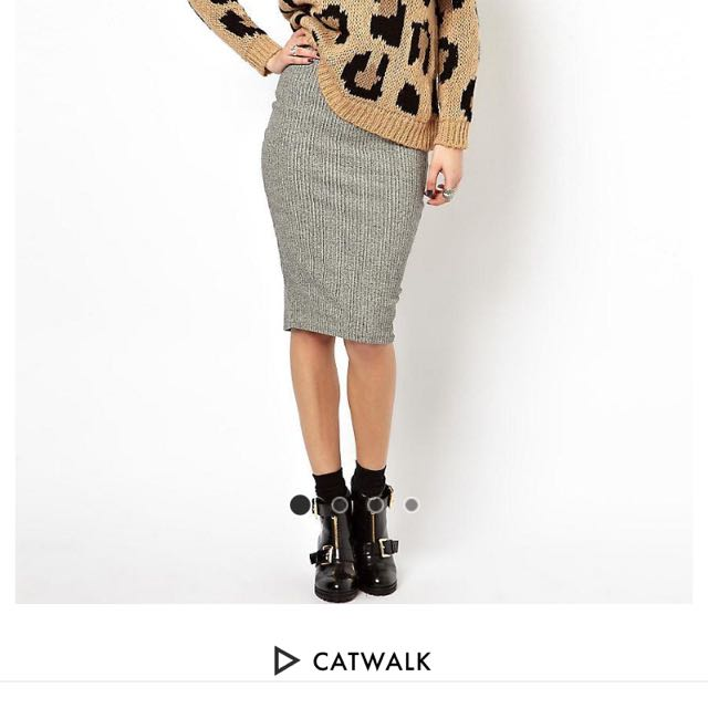 Asos Ribbed Pencil Skirt. Size 10