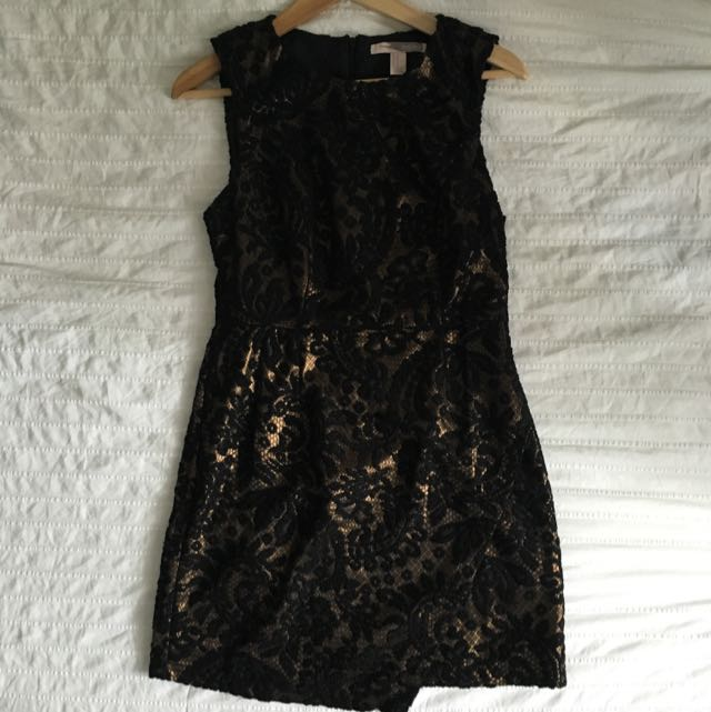 Black & Gold Damask Dress
