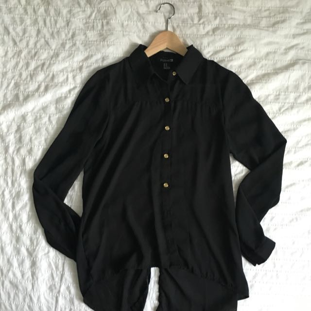 Black Chiffon Long sleeve