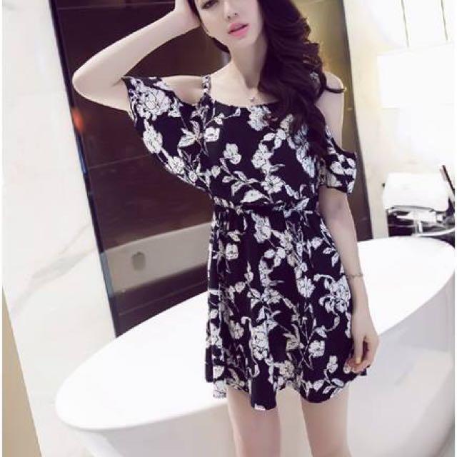 Black Dress Rose In White Print