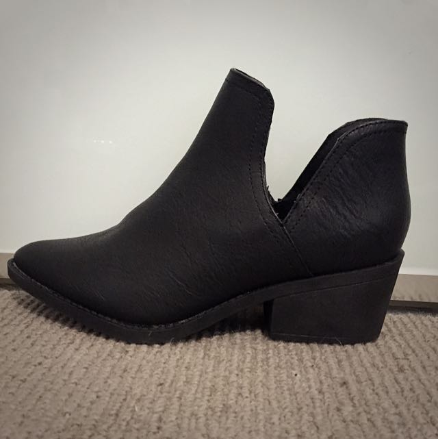 Black Split Side Ankle Boots