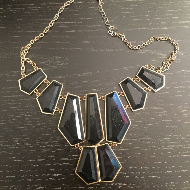 Black Statement Necklace with Gold Chain