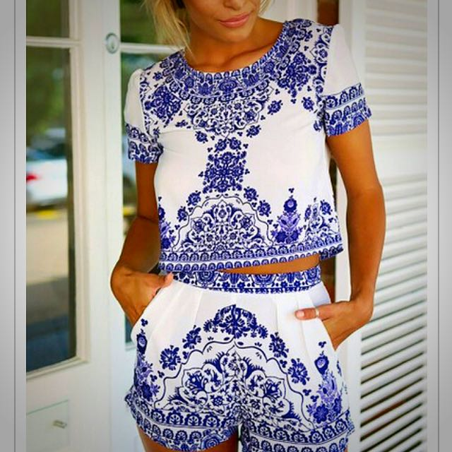 Blue And White Floral 2 Piece